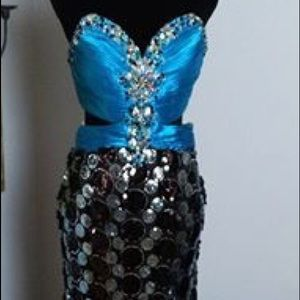 Strapless almost backless blue black silver dress